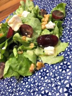 Summer Salad with grapes, goats cheese and honey mustard dressing…