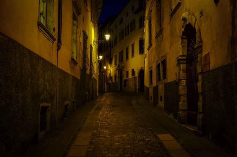 alley architecture buildings dark