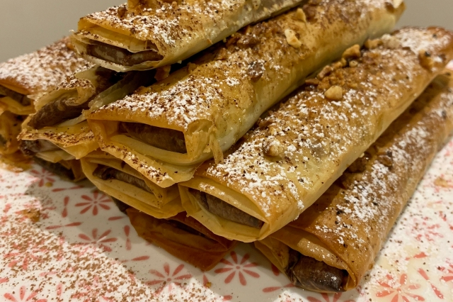Chocolate and Hazelnut Filo Rolls…